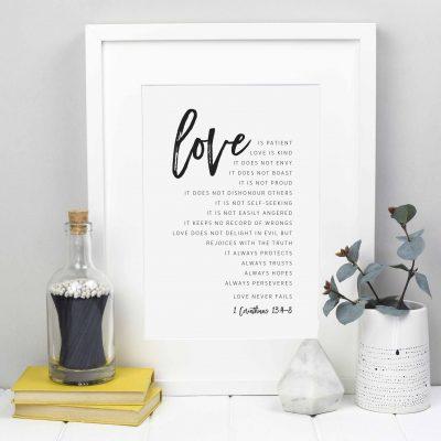 Love is patient, love is kind 1 Corinthians 13:4-8 monochrome wedding print