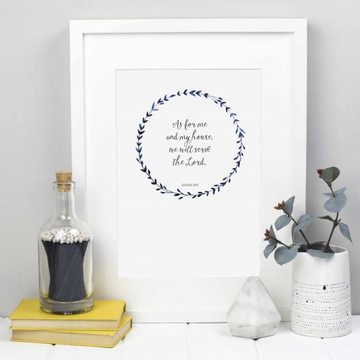 A4 print featuring Joshua 24:15 inside a dark blue watercolour wreath