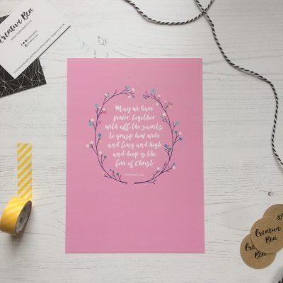 Pink Bible Verse Print