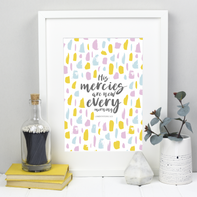His Mercies are new every morning in a hand lettered font with yellow, blue and pink dashes
