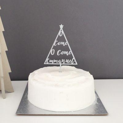 Silver cake topper - o come o come emmanuel