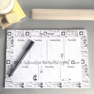 Monochrome menu planner, christian gift with bible verse.