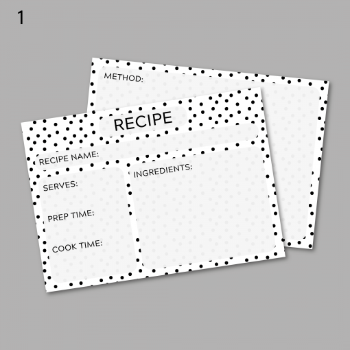 Black and White Recipe Cards