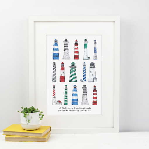 You are the peace in my troubled sea lighthouse print
